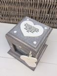 Shabby Chic Rustic Wood Style Personalised Photo Cube Box In Memory Of Loved One